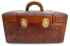 Vintage Hand Tooled Leather Train Case MINT.  via Etsy. Wish I had seen this first!!