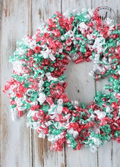 Learn to make a Christmas Wreath DIY with Curly Korker Ribbons with easy idea that allows you to use left over curly ribbons from all your holiday wrapping