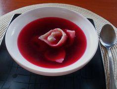 Polish traditional Christmas red borscht with dumplings ...