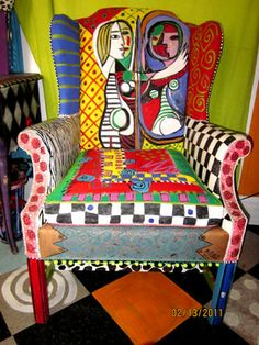 Hand painted Picasso wing chair - products - charlotte - Monapaints.com
