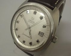 """Gents Omega """"seamaster"""" automatic watch with applied brown leather strap & case"""