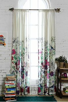 Plum & Bow Forest Critter Curtain $59...I think this would make a GORGEOUS shower curtain. Could put over a basic liner (black or white) and either leave as is or tie back to reveal liner with a knob tie back...NEED 52x84