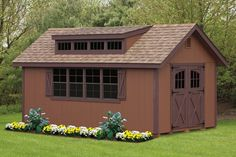 10x18' 6' A-Frame Duratemp - Classic Series  10' Transome Dormer, carriage style doors, classic vents, and two extra windows!  www.AmishShedsNew...