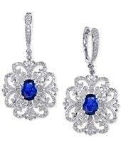Royale Bleu EFFY Sapphire (2 ct. t.w.) and Diamond (4/5 ct. t.w.) Drop Earrings in 14k White Gold