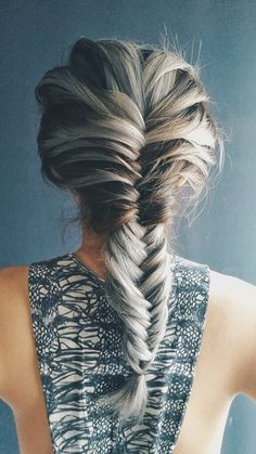Grey Hair Fish Tail French Braid. Great hair style for the gym!