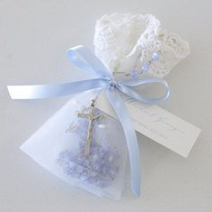 Blue Lace Bag Rosary Beads Christening Bomboniere. What a great guest gift!