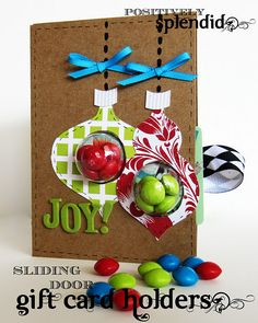 gift card with candy holder in front