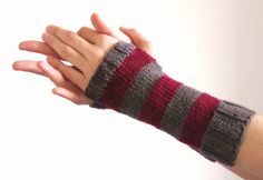 Striped hand knitted hand warmers in red violet and grey on Etsy, €20.00