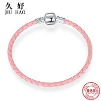 4e5dcea40ef0 Caliente 925 de plata esterlina Charm Rosa cuero cuerda pulseras diy para  joyería de moda para