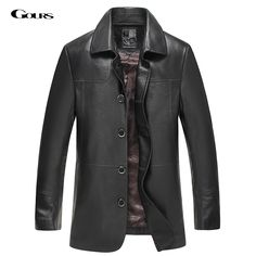 Gours Fall and Winter Genuine Leather Jackets for Men Brand Clothing Black Sheepskin Long Jacket and Coat 2016 New Plus Size 4XL