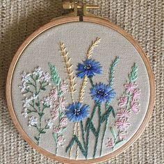 Wildflowers hoop art. Cornflowers.