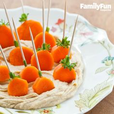 Pumpkin Patch Dippers: Orange you glad to have a healthy snack to give to your kids? Our dippers are made from carrots. Serve them in a bowl of hummus or your child's favorite dip.
