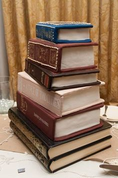 Stack of books wedding cake  Brittany Feagans Photography