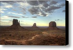Monument Valley Sunset  Stretched Canvas Print / Canvas Art By Saija  Lehtonen