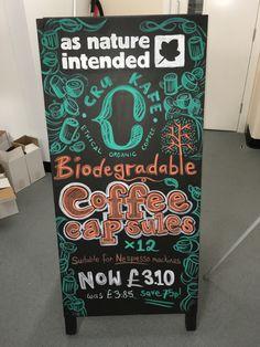 CRU Kafe Biodegradable Coffee Capsules @ Marble Arch - April 2016 (P5W1) #asnatureintended #chalkboard #art #promo #advert #chalkboardart