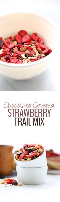 No more boring snacking with this Chocolate-Covered Strawberry Trail Mix! Made with freeze-dried strawberries and dark chocolate chunks, this healthy trail mix will make the perfect snack recipe for life on the run.