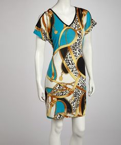 Take a look at this Turquoise Status Cutout Dress - Women by India Boutique on #zulily today!