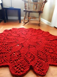 Large Crochet Doily Area Rug, Dark Cherry Ruby Red Round carpet, Boho Chic floor mat, French Provincial Cottage decor, Shabby Country Rustic by EvaVillain