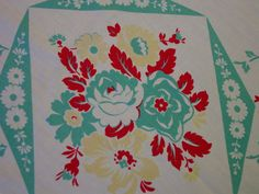 Vintage 1950's Tablecloth Cottage Charm Aqua,Red,Yellow