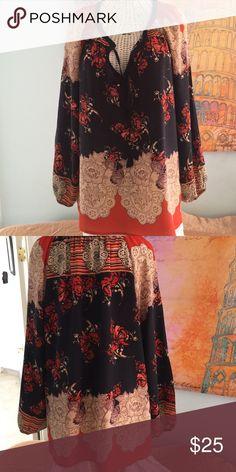 "Top Anthropologie by ""MEADOW RUE"" silk top with tassel tie. Navy/orange/taupe/coral /lavender accent colors. NWOT Anthropologie by Meadoe Rue Tops"