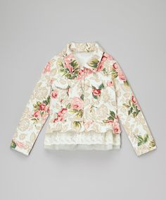 Look at this Frills du Jour Ivory Floral Jacket - Infant, Toddler & Girls on #zulily today!