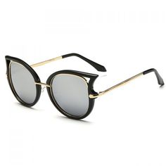 Chic Hollow Out Cat Eye Shape Black Frame Sunglasses For Women