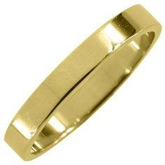 Mens 14KT Yellow Gold 3mm High Gloss Flat Wedding Band