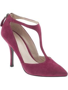"""Nine West """"Blonsky,"""" $85, Piperlime - How incredible is this berry color? And the t-strap is completely on-trend."""