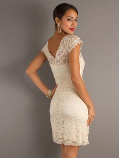 Knee Length Wedding Dress with Vintage style lace