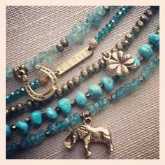 5-Strand Turquoise & Teal Bracelet. Good Luck Charms. Bohemian. Stackable Bracelet. One of A Kind. Brass.
