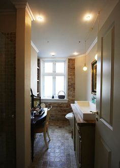 Brick and tiled bathroom with interesting sink Brick Bathroom, Sink, Random Thoughts, Mirror, Spaces, Furniture, Home Decor, Ideas, Sink Tops