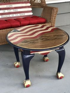 American Flag End Table For Sale In Lakeside Ca Hand Painted Patriotic Table American Flag Table Hand Painted Chairs, Hand Painted Furniture, Funky Furniture, Paint Furniture, Repurposed Furniture, Furniture Projects, Furniture Makeover, Table Furniture, Painted End Tables