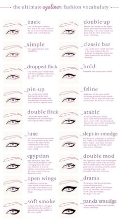 The ultimate Eyeliner fashion vocabulary More Visual Glossaries (for Her): Backp., The ultimate Eyeliner fashion vocabulary More Visual Glossaries (for Her): Backp. The ultimate Eyeliner fashion vocabulary More Visual Glossaries (f. Beauty Make Up, Hair Beauty, Makeup Charts, Fashion Vocabulary, Vocabulary List, Vocabulary Meaning, Tips Belleza, Eye Make Up, Makeup Inspiration