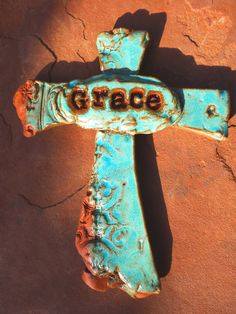 Turquoise Grace Cross...SOLD  made in The Real Pottery Barn #crosses #handmadecrosses