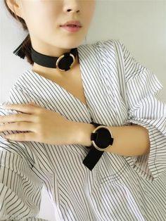 1 PC BD Women Girls Fashion Black Gothic Velvet Metal Bracelet Chain Necklace
