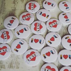 Tattoo/Circus style love badges. Love these designs. Only 50p each in our sale. Perfect for Valentines Day