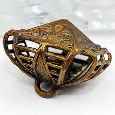 Antique Pierced Metal Cricket Cage Button. Pyramid Top Openwork Flower Design.