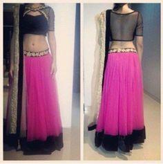 Pink and Black Stylish Bollywood Lehenga Choli Online