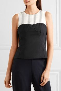 Tibi - Cecil Striped Linen-blend And Stretch-crepe Top - Black - US10
