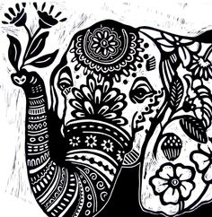 ARTFINDER: Elephant by Laurel Macdonald - I'm still dreaming of the elephant festival! For this drawing, I wanted to do a close-up of an elephant's face. I love those sweet eyes! I once saw a film. Elephant Face Drawing, Elephant Eye, Elephant Colour, Lion Coloring Pages, Lino Art, Ballet Painting, Zentangle, Silhouette Art, Linocut Prints
