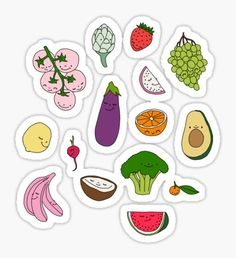 Fruits and vegetables by Elebea Sticker Food Doodles, Kawaii Doodles, Tumblr Stickers, Cute Stickers, Food Collage, Fruit Clipart, Tumblr Love, Fruit Illustration, Food Drawing