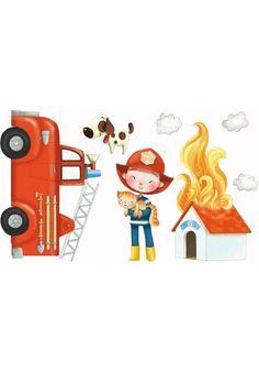 Sticker enfant Les Pompiers