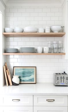 Open shelving Love how clean this looks wood on white subway tile w white grout