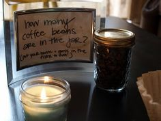 How many beans in the jar - with a coffee themed giveaway basket - product donated locally from coffee houses - put a white label on each item donated stating where it was donated from.