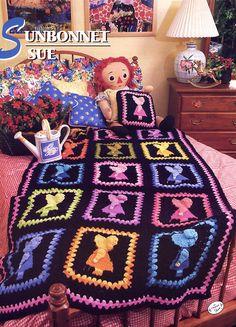 Sunbonnet Sue Quilt Designs | Sunbonnet Sue Crochet Afghan Pattern - Annies Attic Crochet Quilt ...