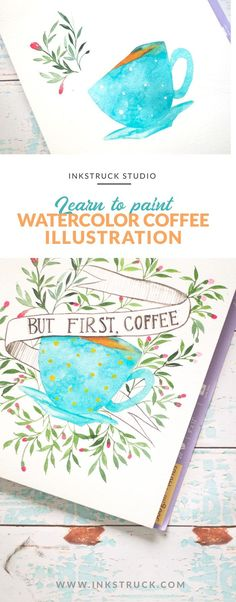 Do you love coffee? Then look no more.Learn to create an awesome watercolor coffee illustration by f Watercolor Quote, Watercolor Tips, Watercolour Tutorials, Watercolor Cards, Watercolour Paintings, Watercolor Flowers, Illustration Tutorial, Coffee Doodle, Do It Yourself Inspiration