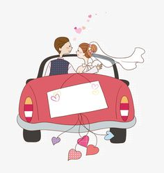 Cartoon wedding car, wedding clipart, car clipart, wedding p Wedding Cards, Wedding Gifts, Wedding Invitations, Car Wedding, Wedding Drawing, Cute Couple Cartoon, Wedding Illustration, Wedding Anniversary, Anniversary Cards