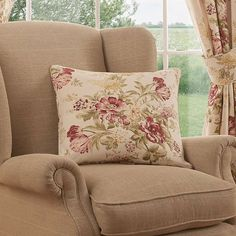 Printed with floral patterns in shades of red and green on a natural background, this square cushion from the premium Dorma brand is crafted from cotton fo. Pleated Curtains, Natural Background, Pencil Pleat, Shades Of Red, Wingback Chair, Accent Chairs, Floral Design, Cushions, Throw Pillows