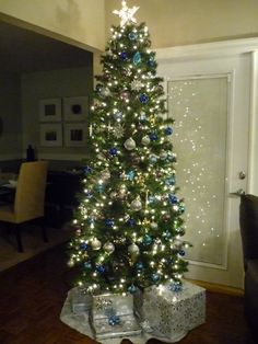 Beautiful Blue and Silver Christmas Tree!