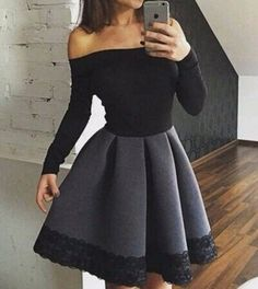 Elegant black long sleeve short prom dress,evening dress,homecoming dress,dresses from Little Cute - Homecoming Dresses Cute Homecoming Dresses, Prom Dresses For Teens, Black Prom Dresses, Ball Dresses, Pretty Dresses, Casual Dresses, Dress Black, Long Dresses, Dress Long